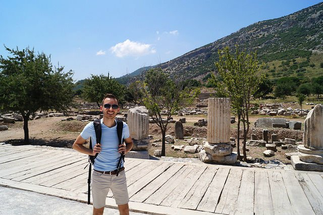 My Day at Ephesus and Kusadasi Turkey - Shawn at entrance of Ephesus
