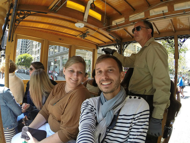 My First Time in San Francisco - Selfie on a cable car