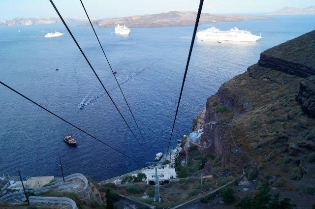 Stunning Santorini Greece - Cable car in Thera
