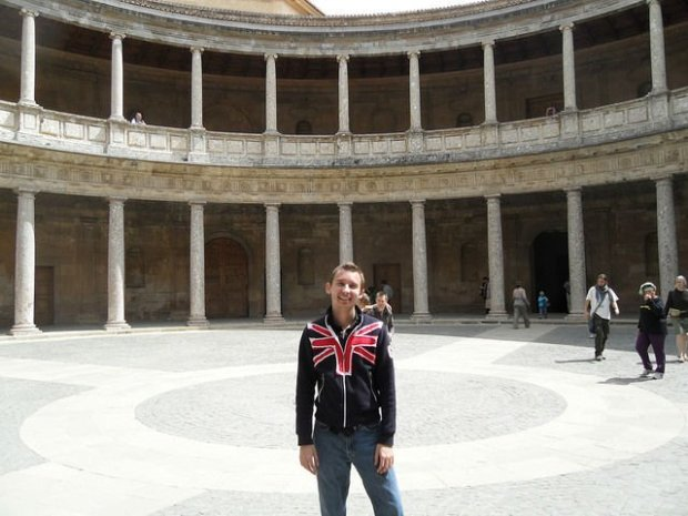 Spain - Shawn in Granada Spain in part of the Alhambra