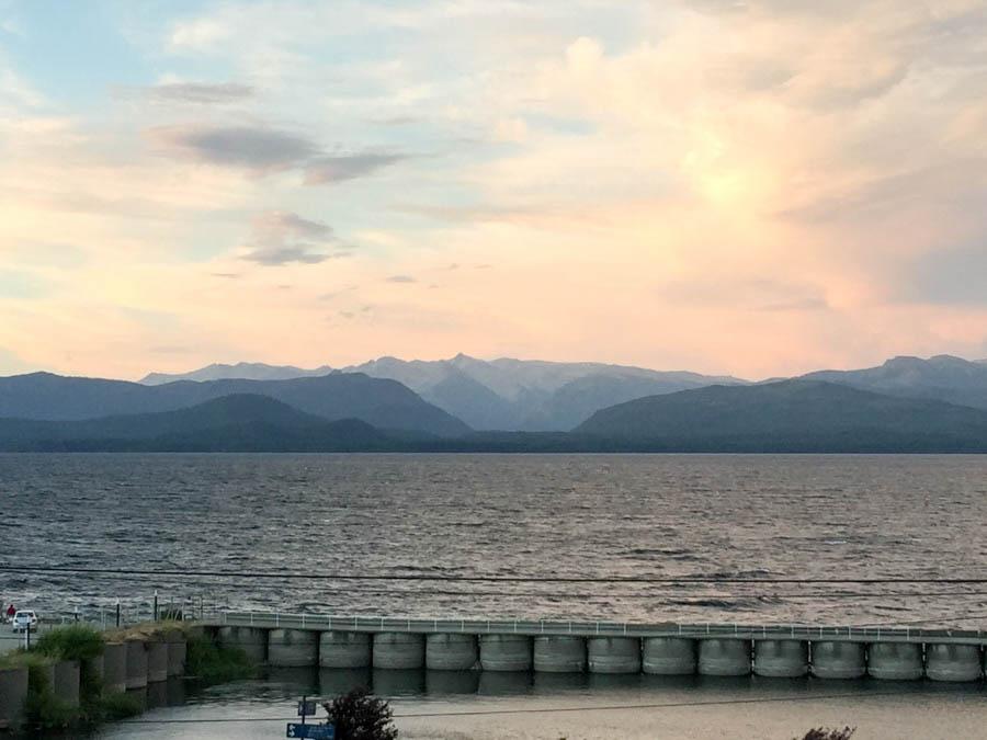 The sunset setting over Lake Nahuel Huapi