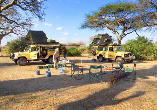 Safari Vehicles Setting up Camp