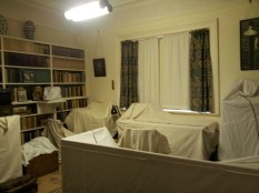 Shaw's study - shrouded in dust sheets for the witner