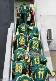 KINGSTON, JAMAICA - MARCH 21: Inzamam Ul-Haq (#8) of Pakistan leads his team-mates up to the team balcony following victory over Zimbabwe in what was his final one day international for Pakistan during the ICC Cricket World Cup 2007 Group D match between Pakistan and Zimbabwe at Sabina Park on March 21, 2007 in Kingston, Jamaica. (Photo by Paul Gilham/Getty Images) *** Local Caption *** Inzamam Ul-Haq