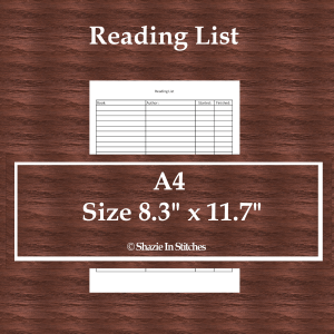 A4 Size – Reading List Page