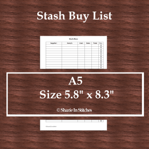 A5 Size – Stash Buys List Page