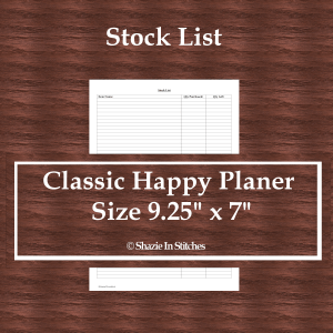 Classic Happy Planner Size – Stock List Page