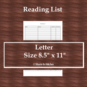 Letter Size – Reading List Page