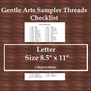 Letter Size – Gentle Arts Sampler Threads Checklist