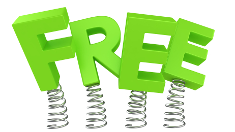 The word FREE jumping on springs