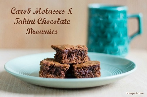 Best Brownie Recipes / Chocolate Week Round Up /Kavey Eats Carob Molasses Tahini Brownie / SHE-EATS