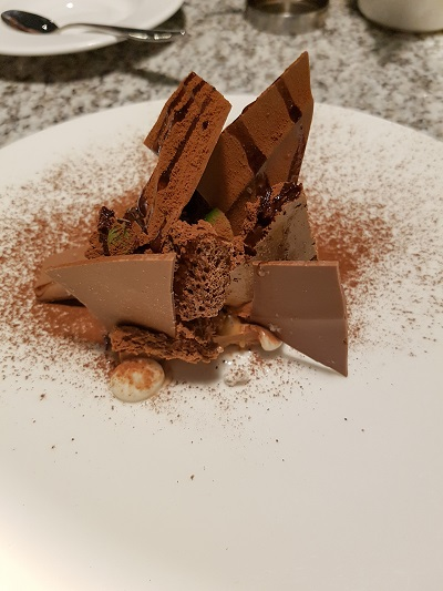 Chocolate dessert on plate / Grafene, Manchester / SHE-EATS