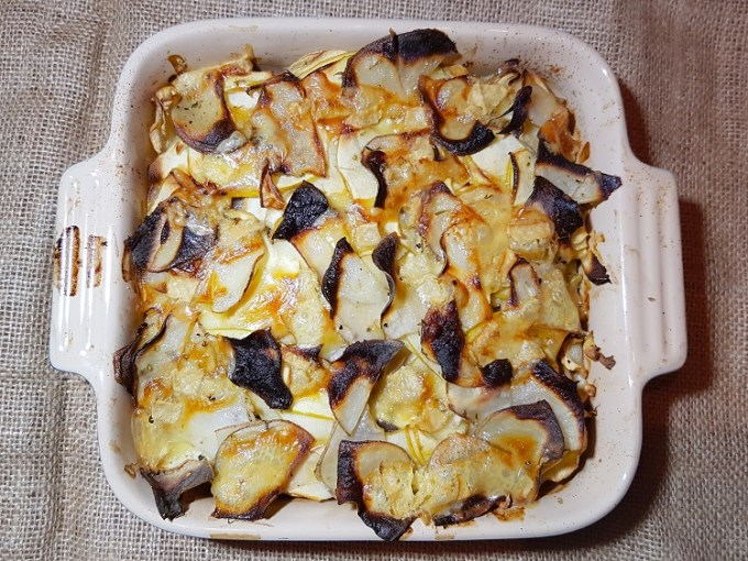 Vegetables and cheese baked in a dish