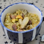Bowl of pasta / Smoky bacon and mushroom orzo risotto orzotto with Germanto / She-Eats.Com