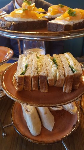 Sandwiches on cake stand / Afternoon tea Mamucium Manchester / She-Eats.com