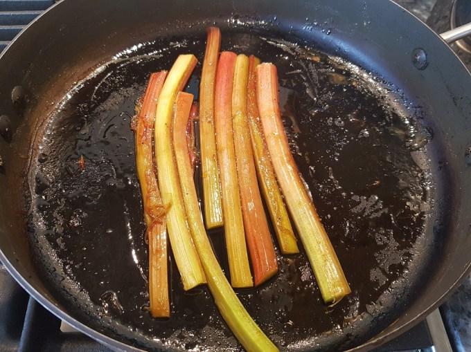 Rhubarb cooking in a pan