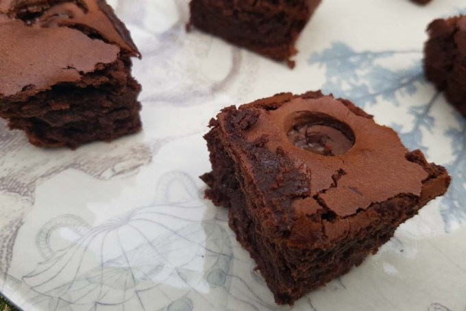 Chocolate brownies on a plate