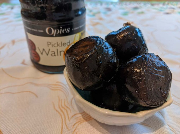 pickled walnuts in small bowl