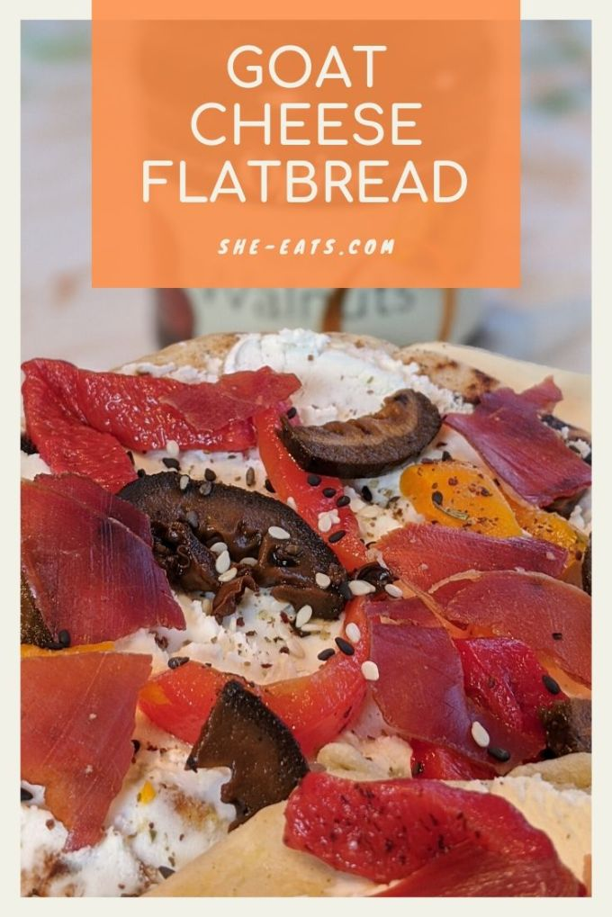 Pinterest image for goat cheese flatbread.