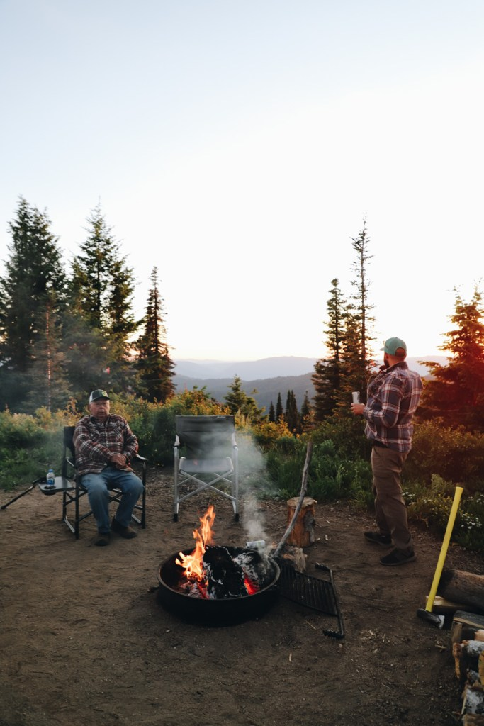 Campfire at sunset on Deadwood Mountain Idaho