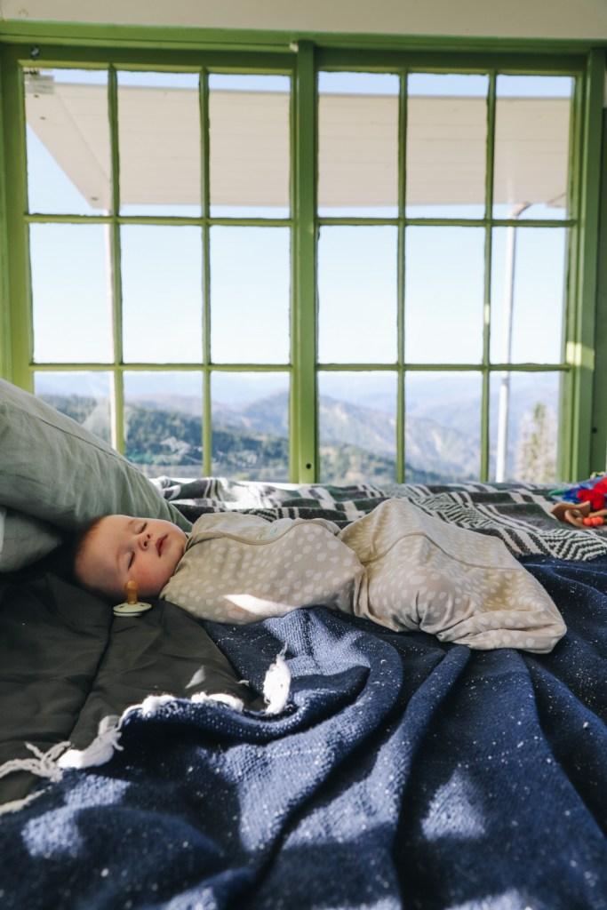 An infant sleeps