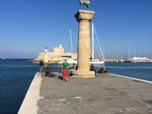at the harbour entrance of Mandraki