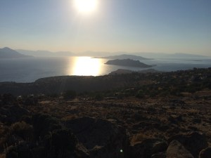 great view around the bay from the top of the mountain at Aigina during our bike tour