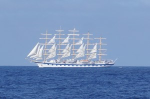 the Royal Clipper seemed curious and came close to us ...