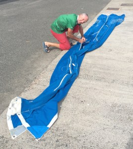 the Lazybag (in which the sail is stored) needs some repair and especially new zippers