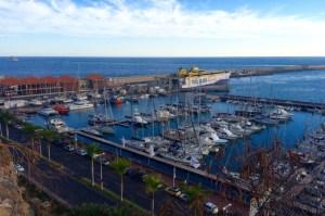 San Sebastian harbour, our She San to the left of the orange Salvamar boat