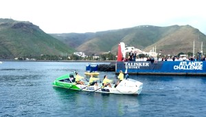 eone of the two girls teams at the start of the Antlantic Challenge - the worlds toughest row