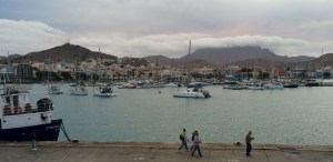 our She San in Mindelo anchorage, behind the marina and the city centre