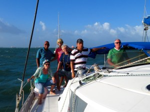from the right to the left: Capitan Reto, Advisor Roy and Line Handlers Hanspeter, Ellen, Martin and Lilian