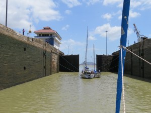the Pedro Miguel Locks open up, now only across the lake, and two more locks down until the pacific...