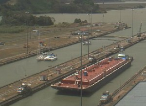 in front of the webcam of the Miraflores locks - like this our family and friends at home have followed us through the kanal!!
