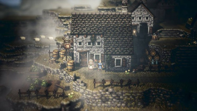 Octopath Traveler town graphics