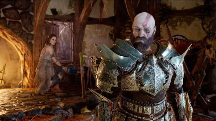 Freya's Witch Hut and Kratos in Armor