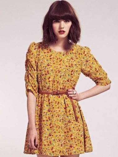 Heather Ruche Sleeves Ditsy Floral Dress with Daisy Belt £65 from Dahlia