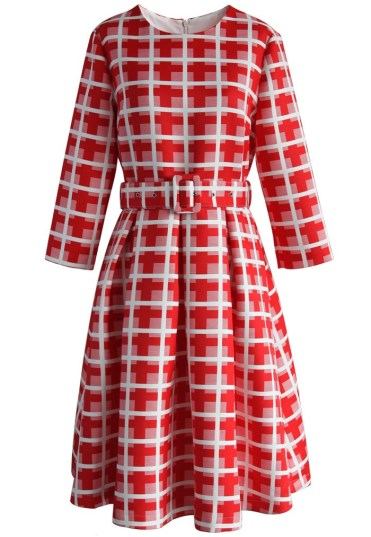Red Cross and Plaid Belted Flare Dress £42.14 (with discount) from Chicwish