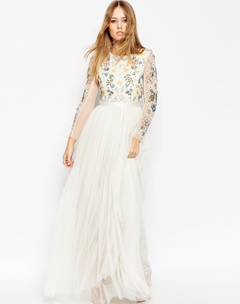 Backless Sheer Sleeve Tulle Embellished Maxi Dress £185 from Needle and Thread at ASOS