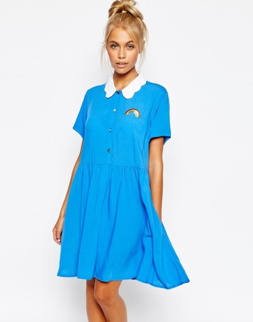 Button Front Shirt Dress With Rainbow Embroidery And Cloud Collar £65 from Lazy Oaf at ASOS