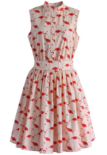 e259bc600dd68 Flamingo Fun Flare Print Dress $59.42 (£42ish) from Chicwish