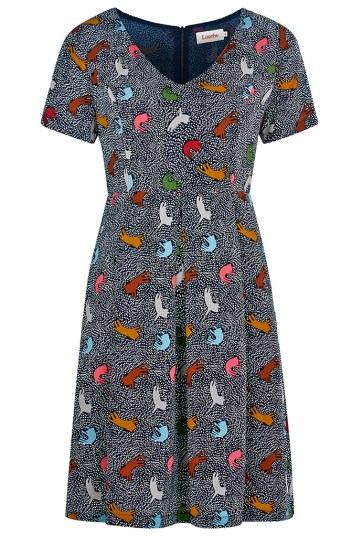 She and Hem | Double Thumbs Dresses #85 | Ronneta Cat Print V-Neck Tea Dress £49 by Louche at Joy