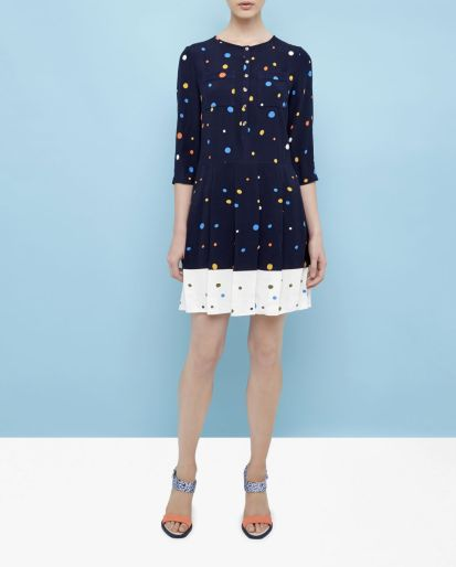 She and Hem | Double Thumbs Dresses #85 | Spotted pleated dress £179 from Ted Baker