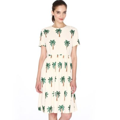 Short-Sleeved Dress with Palm Tree Embroidery £75 from La Redoute