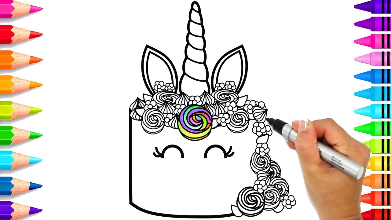 Unicorn Cake Colouring Pages To