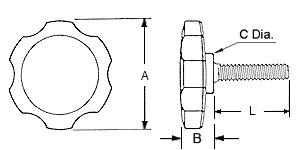 Rosette Thumbscrew Dimensions