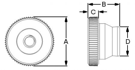 Knurled Extended Thumbnut Insert Dimensions