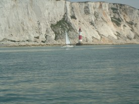 Yacht Passing Beachy Head Lighthouse