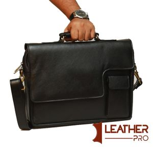 Black genuine leather office bag (File & laptop)